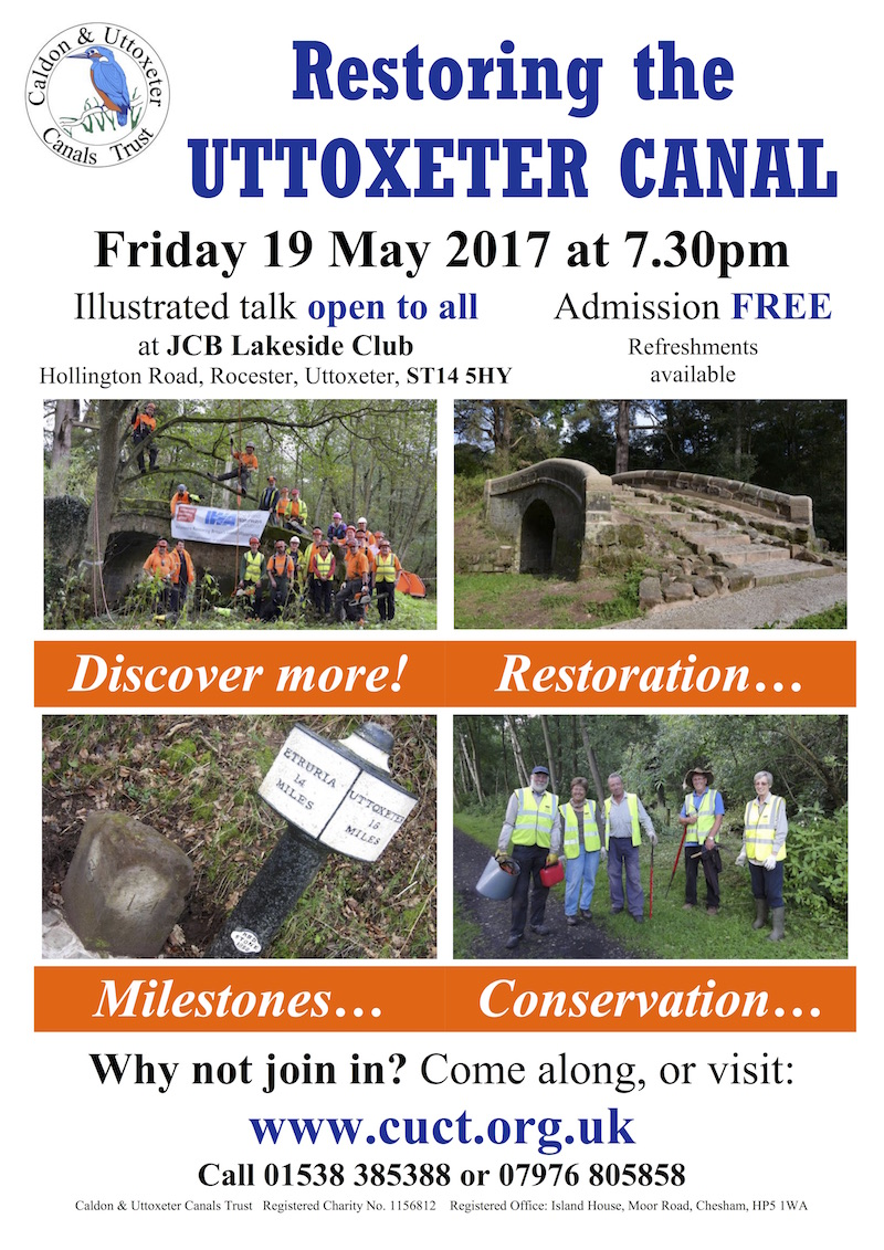 Poster - Uttoxeter Canal Talk on Friday 19 May 2017