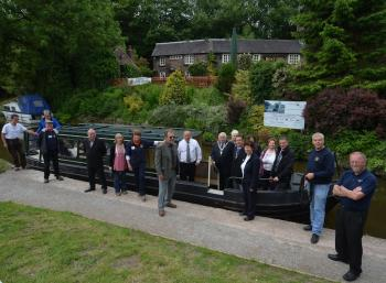Visitors view the improved towpath and moorings near to the Boat Inn in Cheddleton