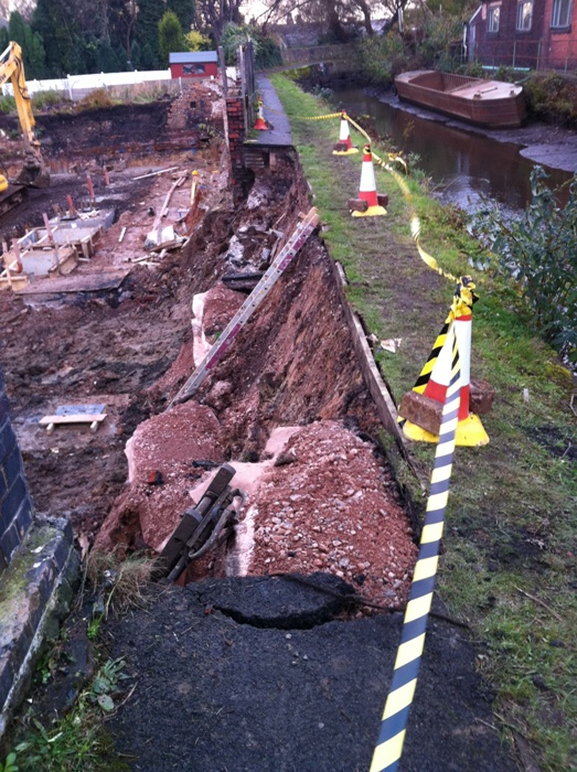 Collapsed towpath and wall
